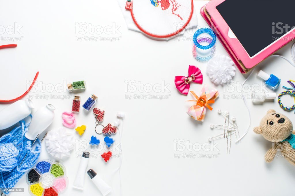 Baby toys and accessories on a white background stock photo