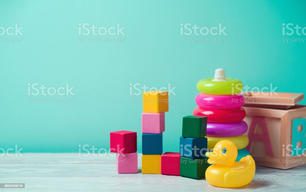 Baby toys on wooden table royalty-free stock photo
