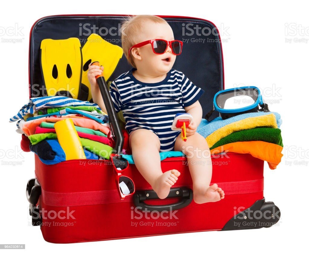 Baby Travel Suitcase, Child Sitting in Traveling Bag, Kid inside Vacation Baggage, White Isolated stock photo