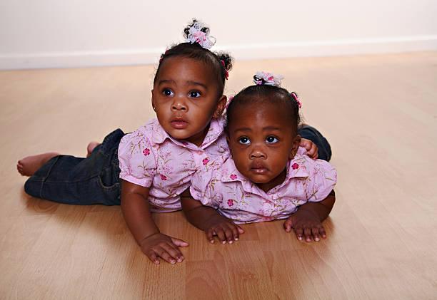 Baby Twin Girls 2 stock photo
