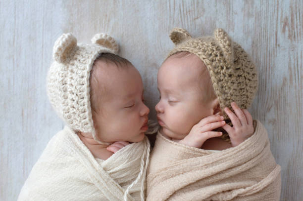 Baby Twin Girls Wearing Bear Bonnets stock photo