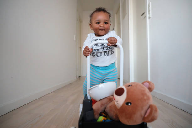 Baby using his walker to transport loot stock photo