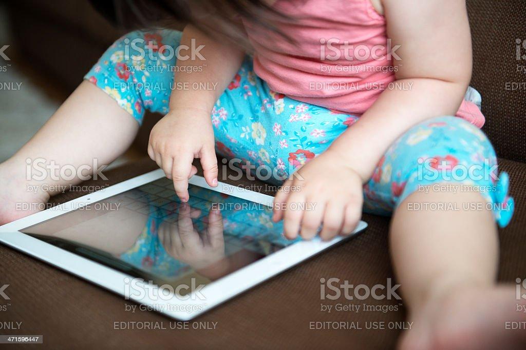 Baby using ipad royalty-free stock photo
