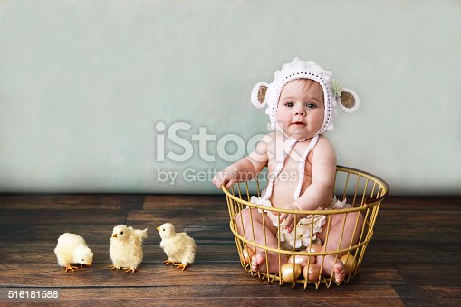A baby girl sits in an antique egg basket, wearing a knitted lamb bonnet. Baby chicks stand beside her. She is six months old. Copy space in background.