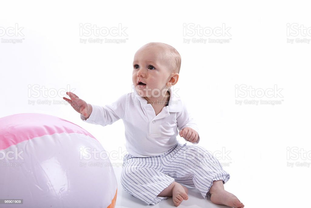 Baby with a Beach Ball royalty-free stock photo