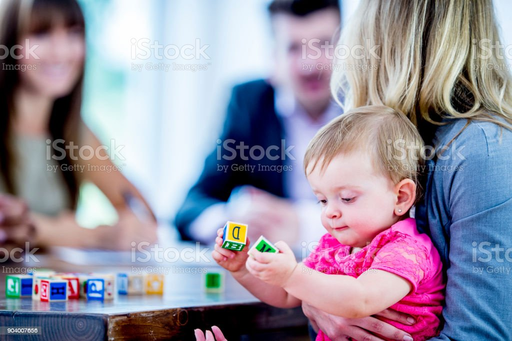 Baby With Blocks stock photo