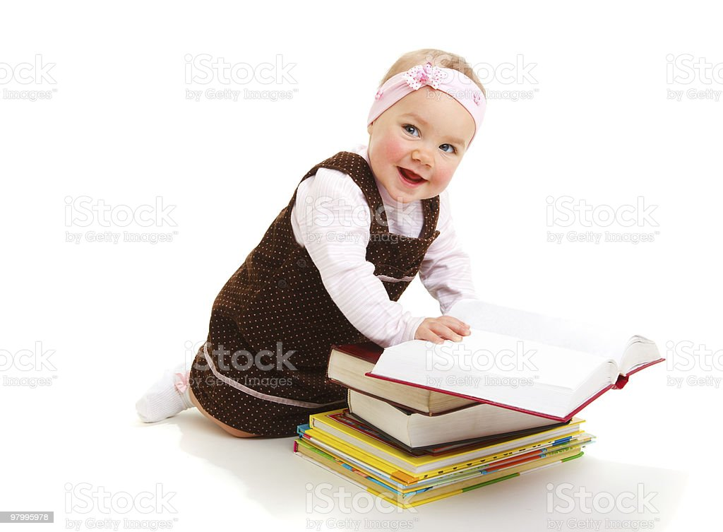 Baby with books royalty-free stock photo