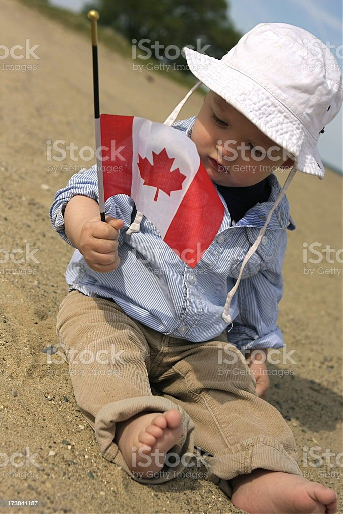 Baby with Canada Flag royalty-free stock photo