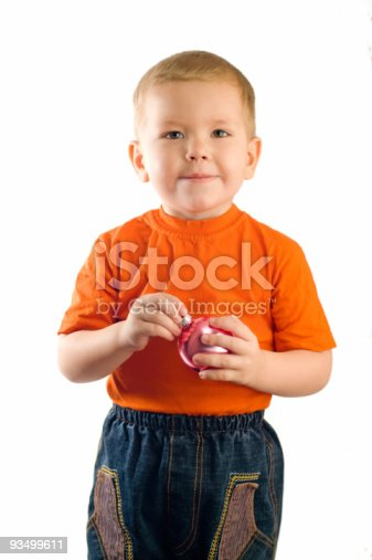 istock baby with  Christmas tree decoration 93499611