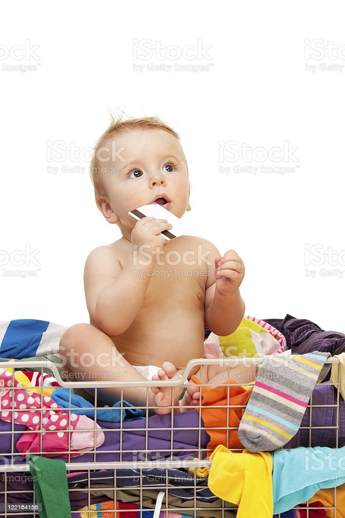 Baby with clothes and credit card royalty-free stock photo
