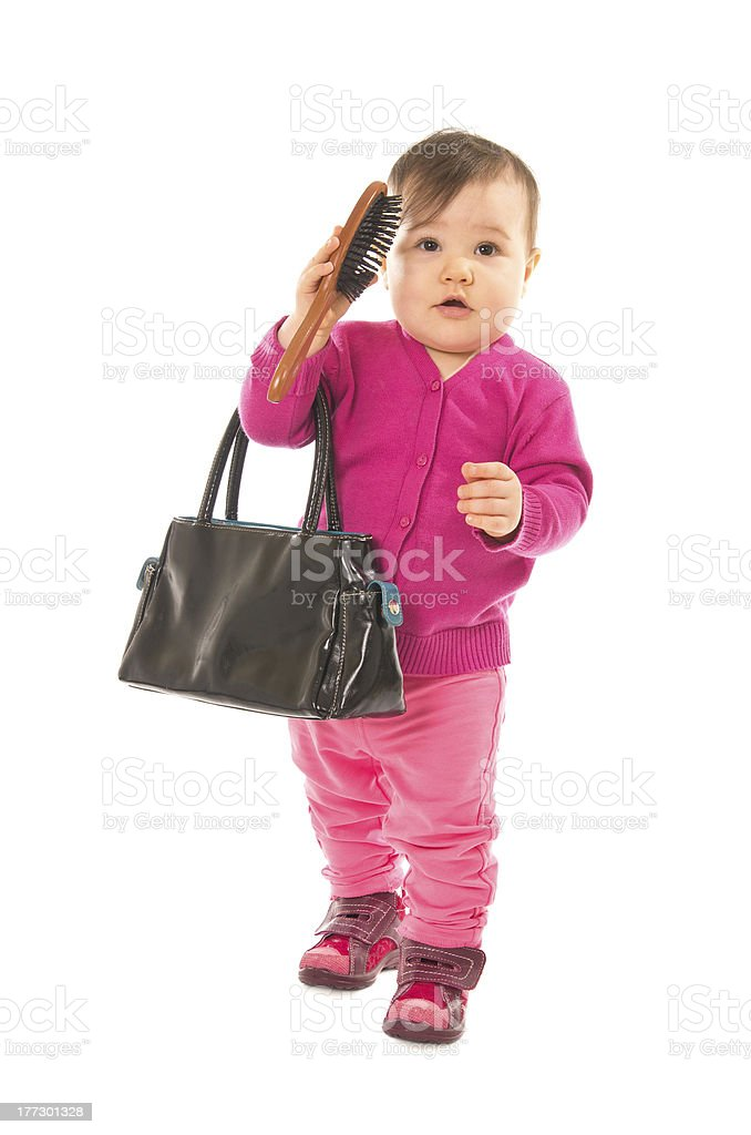 Baby with comb royalty-free stock photo