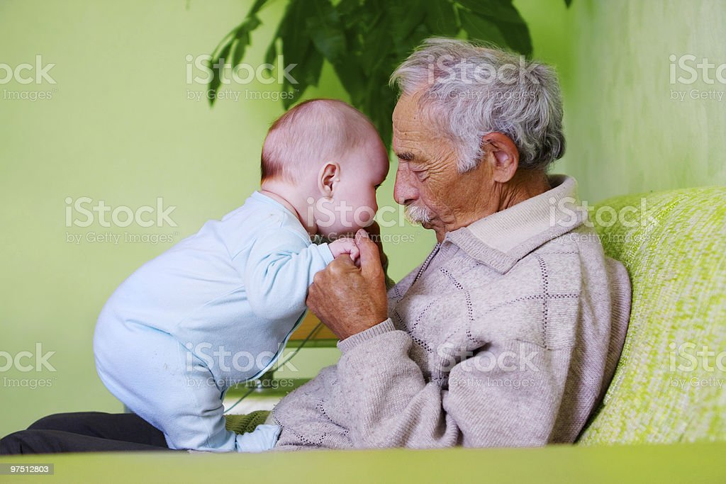 baby with grandpa royalty-free stock photo