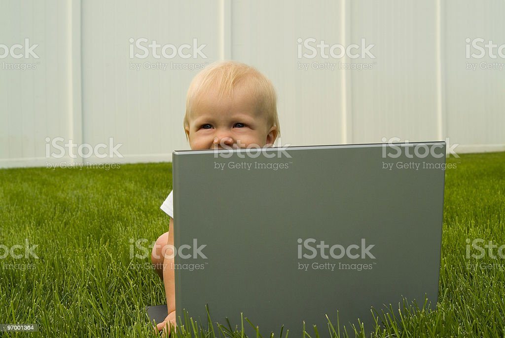 Baby with Laptop royalty-free stock photo