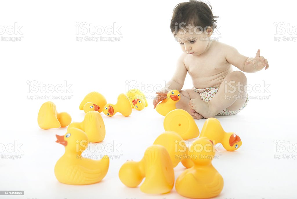 Baby With Rubber Ducks royalty-free stock photo