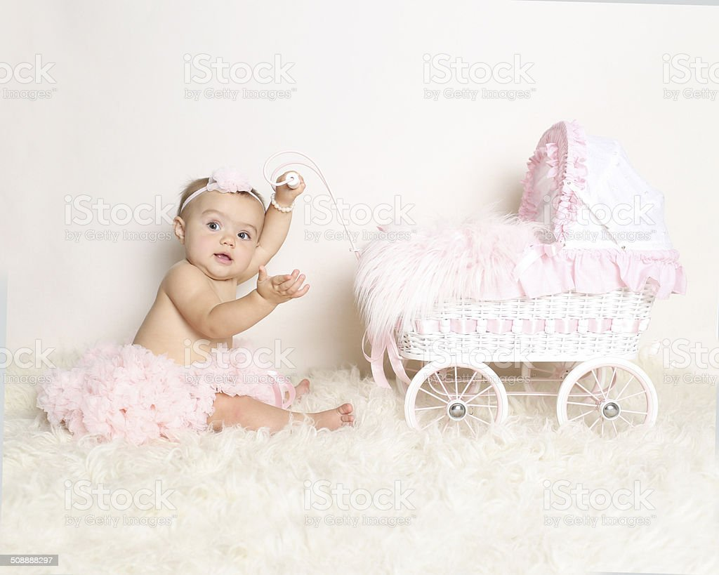 baby with stroller royalty-free stock photo