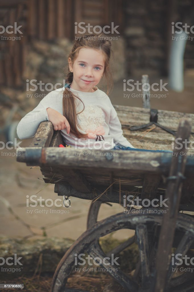 Baby young girl with blue eyes with brunnette plait hair wearing white dress shirt and posing on wooden old style retro wagon cart trundle posing looking to camera stock photo