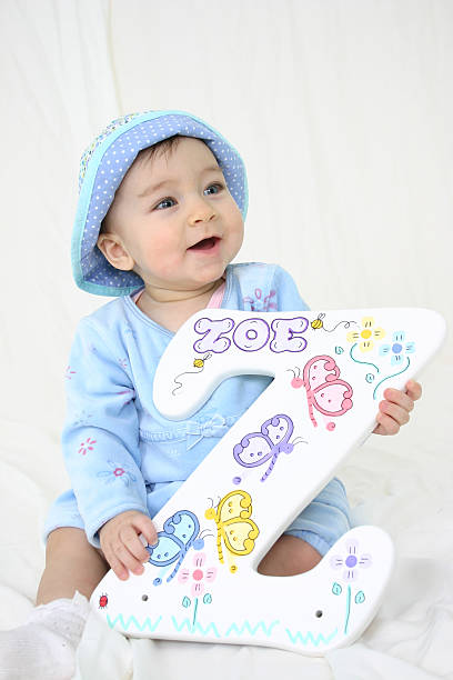 Baby Zoe with Name on letter Z stock photo