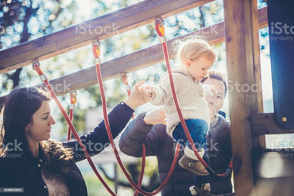 Babygirl Exploring the Playground stock photo