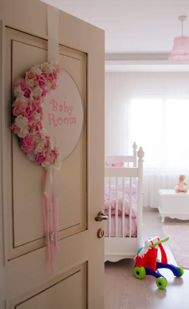 babygirl room entrance stock photo