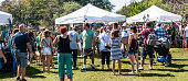 Babylon, NY, USA - 16 September 2018: Many vendors and people attend the Babylon Village fair which goes around Argyle Lake.