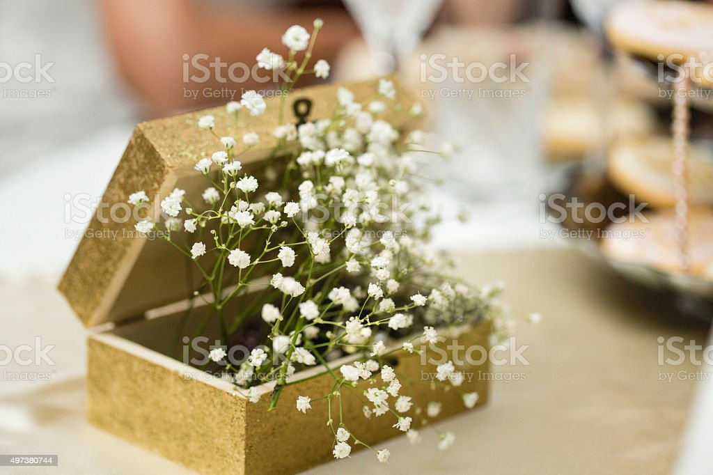 Baby's breath flowers in a box, wedding decoration stock photo