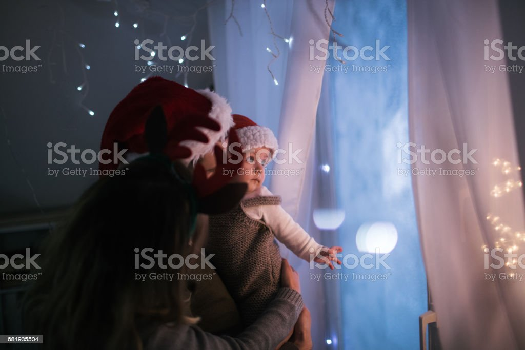 Baby's first Christmas stock photo