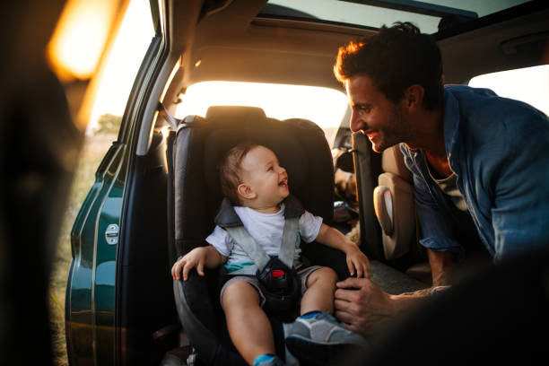 Baby's first road trip stock photo