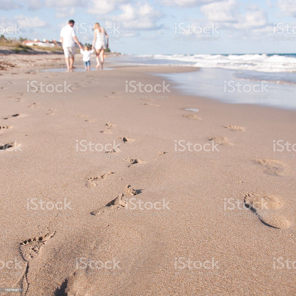 Baby's First Walk on the Beach royalty-free stock photo