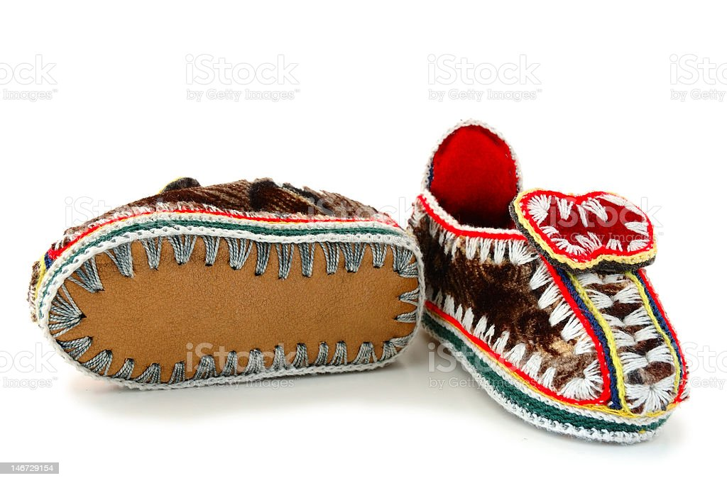 Baby's mocassins. stock photo