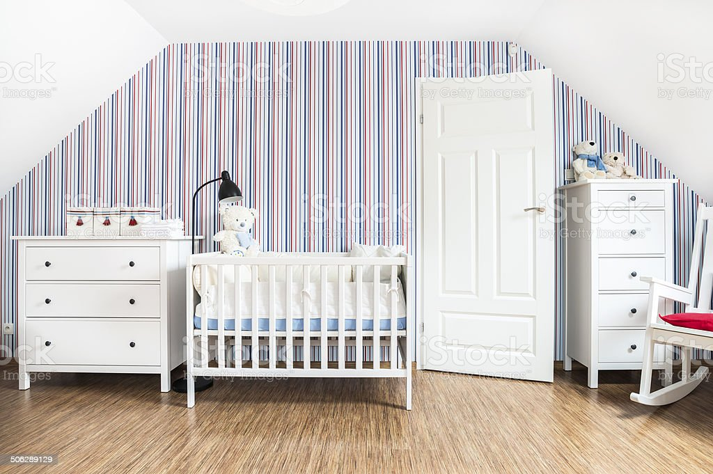 Babyu0027s Room, Home Interior, White Furnitures, Striped Wallpaper, Teddy Bears  Royalty