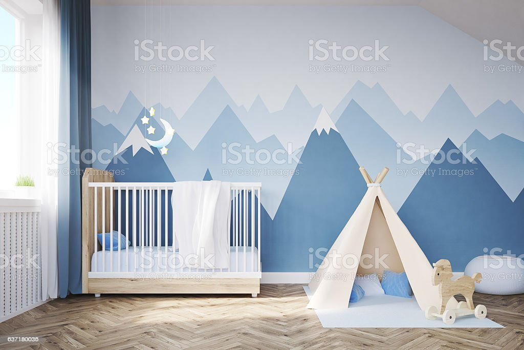 Baby's room with a bed and tent stock photo