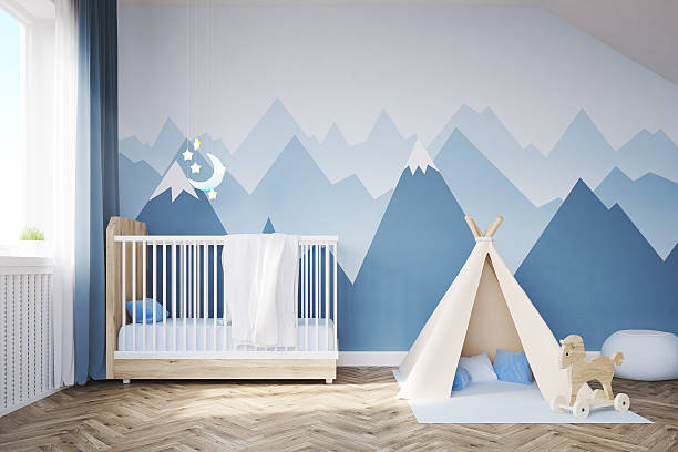 Baby's room with a bed and tent – Foto