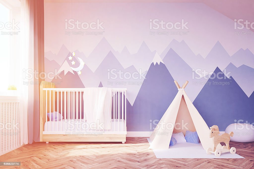 Baby's room with a bed and tent, toned stock photo