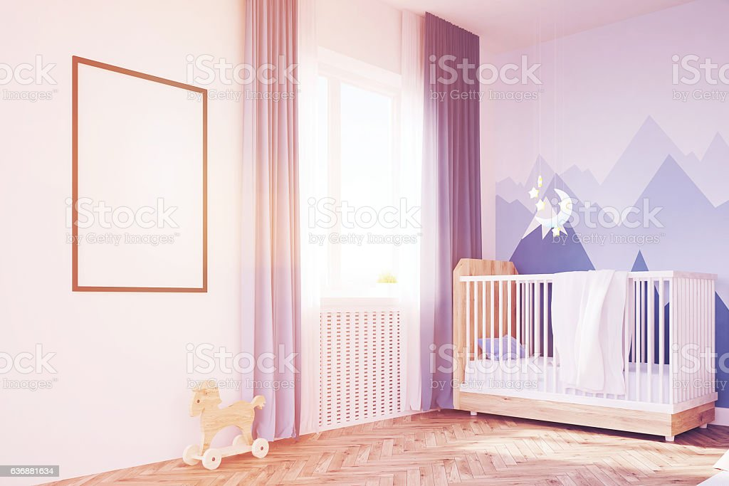 Baby's room with a crib and a poster, toned stock photo
