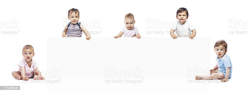 Baby's with banner stock photo