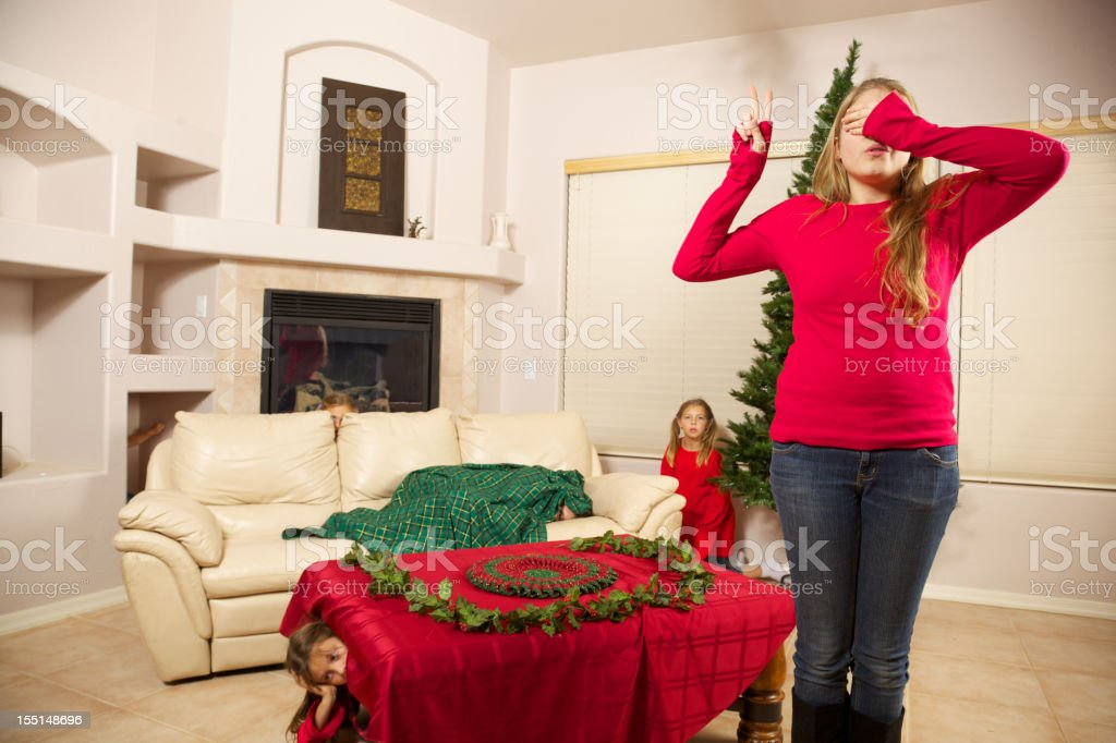 Babysitter does Holiday Countdown to Chase of Hide stock photo