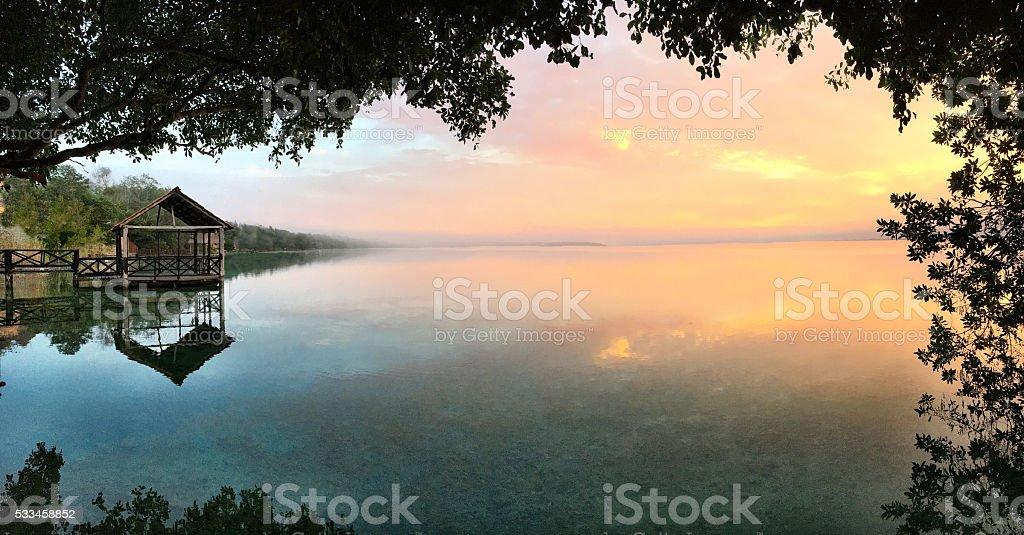 Bacalar dawn panorama stock photo