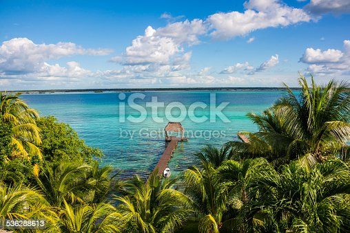 Perfect view of caribbean lagoon Bacalar. Seven Color water. Pier and Hut. Tropical Jungle, Central America Adventure.