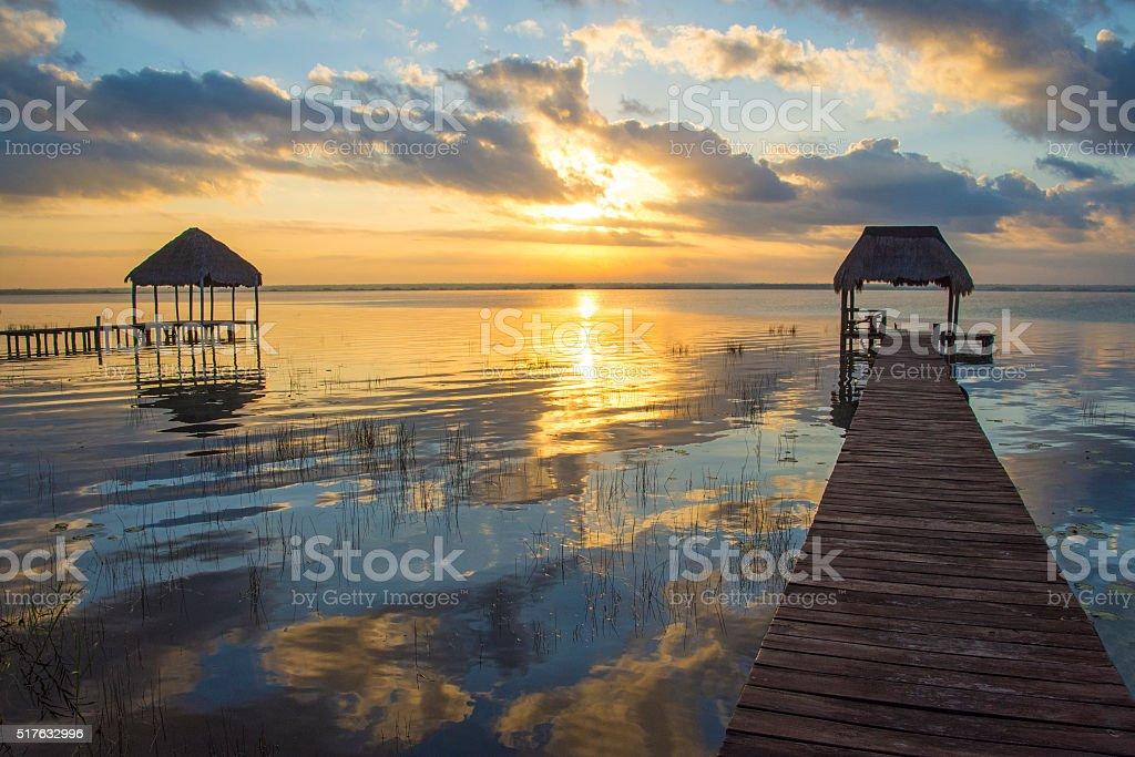 Bacalar sunrise stock photo