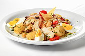 cod with garbanzo beans, peppers and eggs