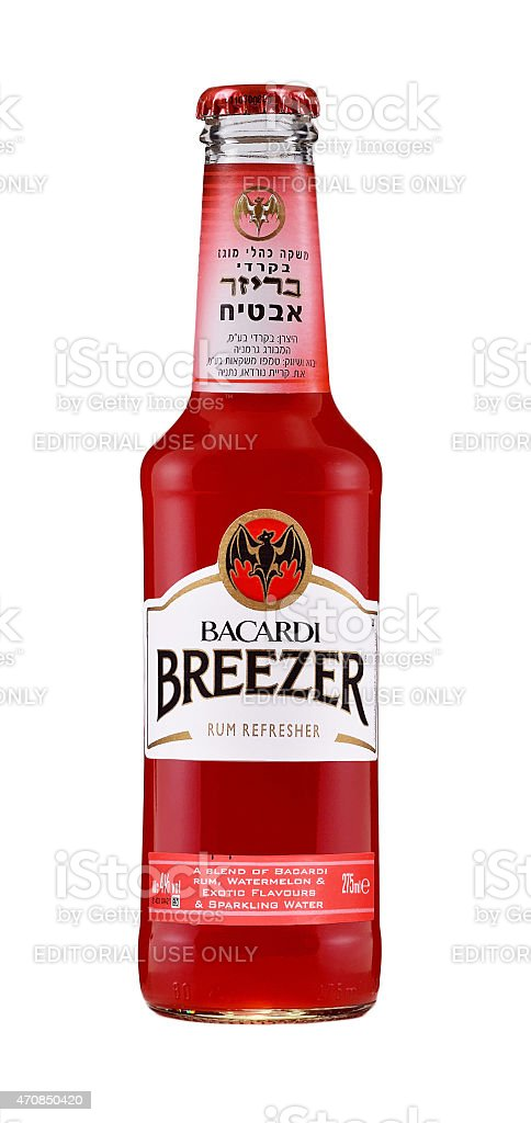Bacardi Breezer watermelon rum cooler stock photo