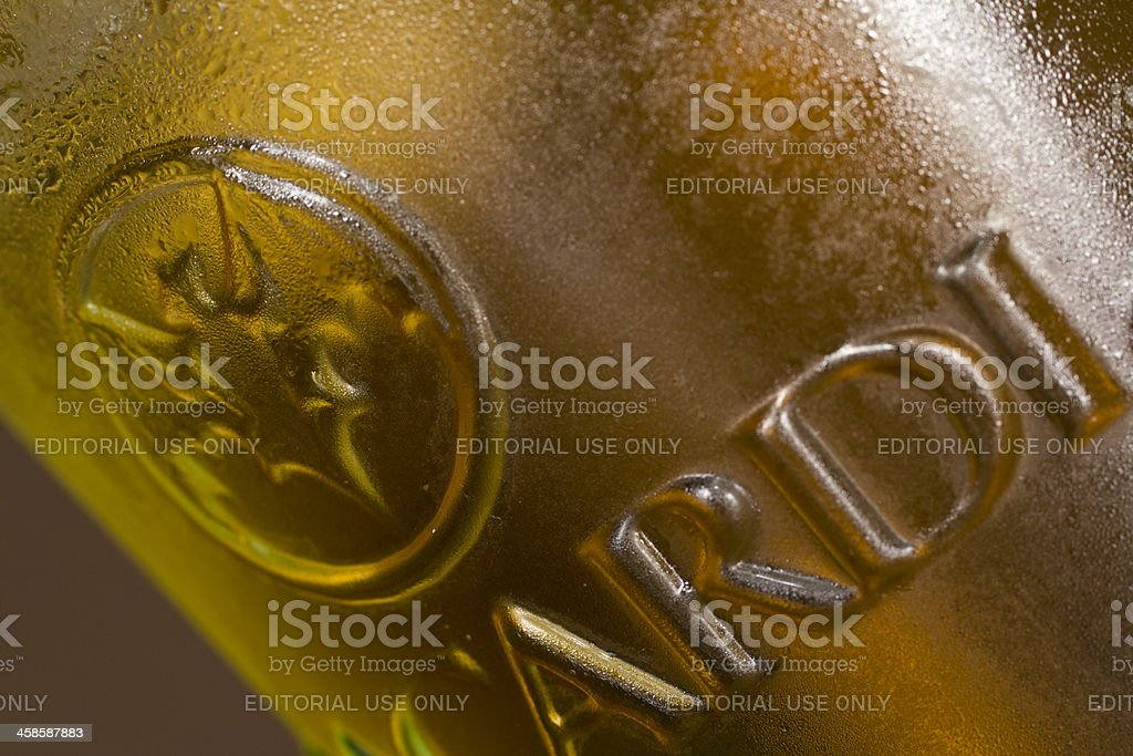 Bacardi logo on a glass