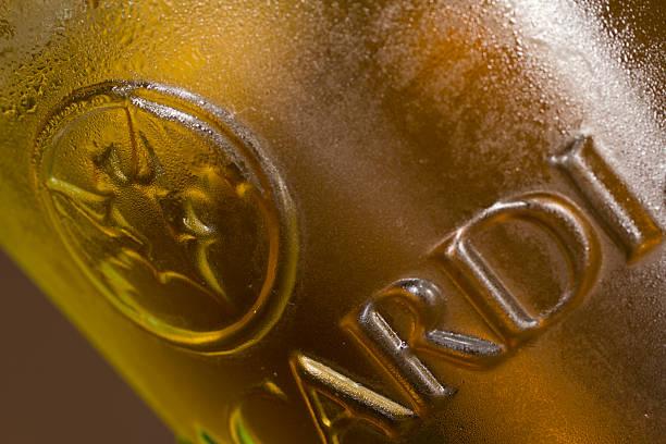 Bacardi logo on a glass stock photo