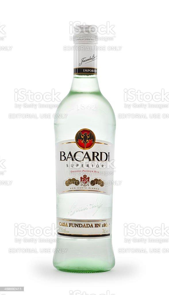 Bacardi Rum Bottle on white stock photo