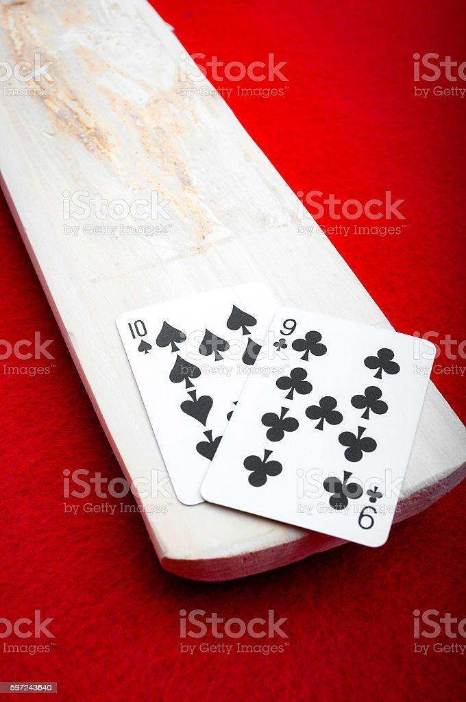Baccarat palette holding a winning 9 stock photo