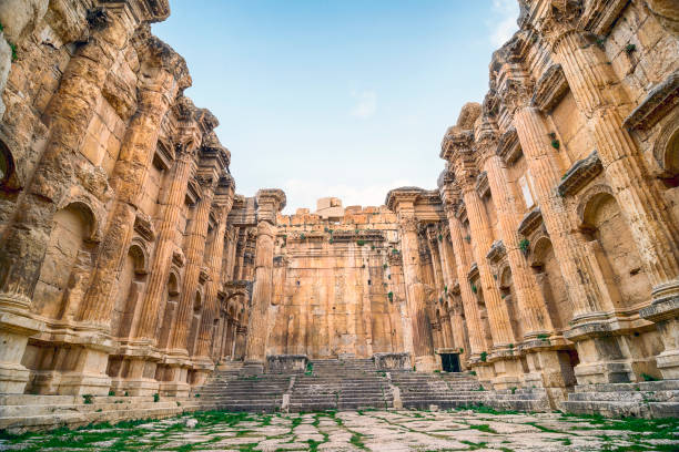 Bacchus temple in Baalbek The Temple of Bacchus at Baalbek, a World Heritage site, is one of the best preserved and grandest Roman temple ruins in the world. beirut stock pictures, royalty-free photos & images
