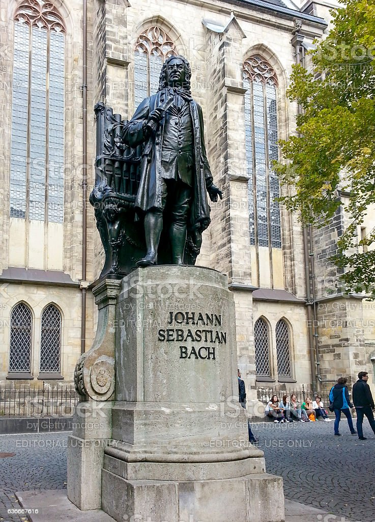 Bach monument in front of the St Thomas Kirche stock photo
