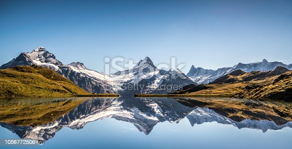 Lake Bachalpsee with reflecting Mountain, Schreckhorn, Finsteraarhorn, Grindelwald, Alps, Berne, Switzerland