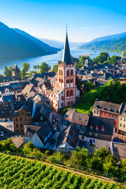 Bacharach old town in Germany Bacharach aerial panoramic view. Bacharach is a small town in Rhine valley in Rhineland-Palatinate, Germany north rhine westphalia stock pictures, royalty-free photos & images