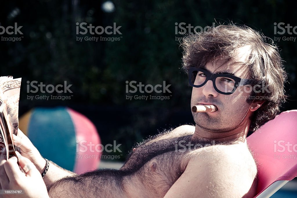 Bachelor by the pool royalty-free stock photo